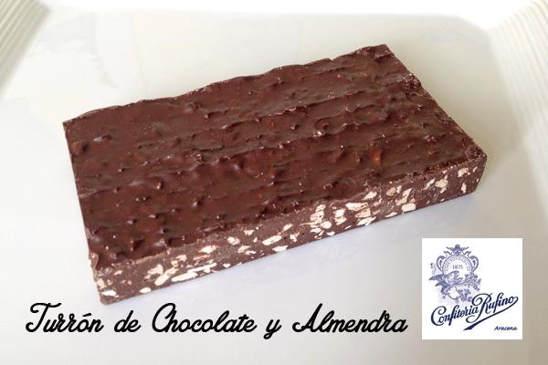 turrón de chocolate y almendras Navidad Confitería Rufino Aracena