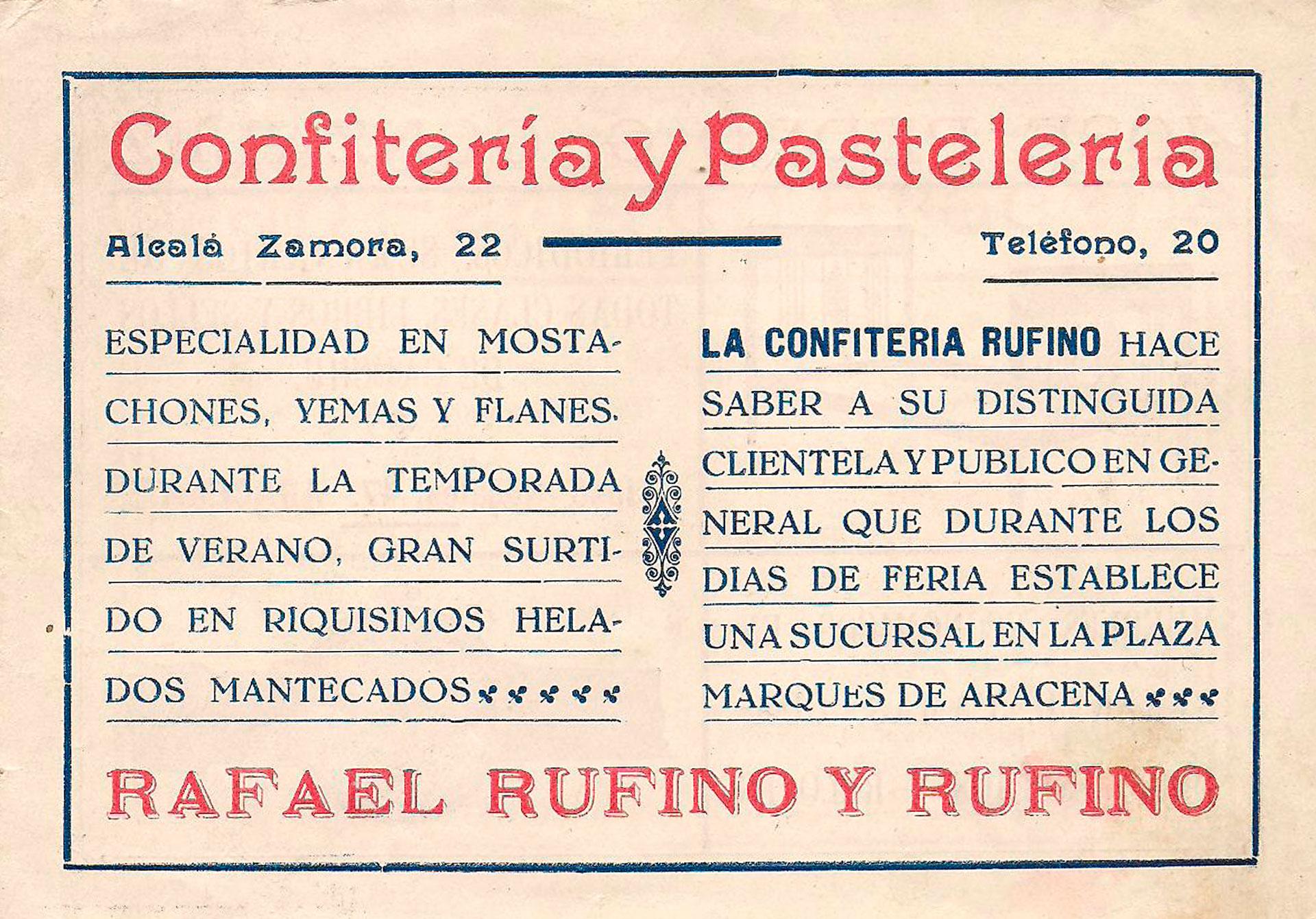 publicidad confitería rufino aracena 1934