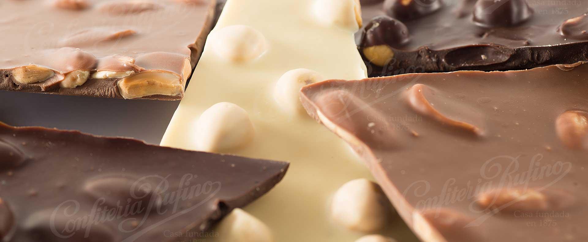 chocolate artesano blanco negro y con leche Confiteria Rufino Aracena